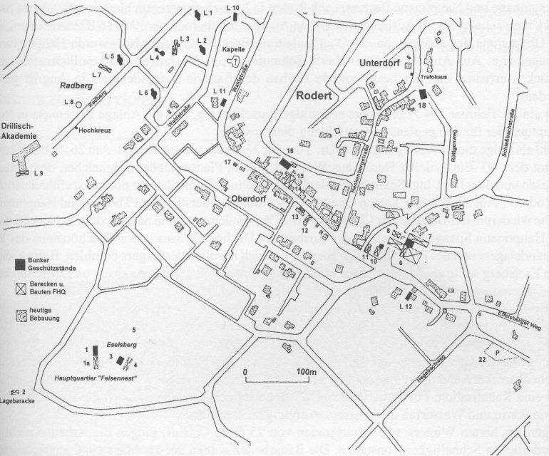 Карта расположения штаб-квартиры «Felsennest» у деревни Роддер.
