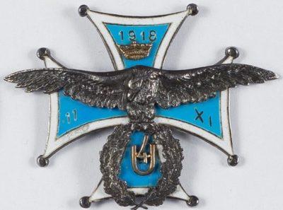 Аверс и реверс офицерского полкового знака 4-го уланского полка.