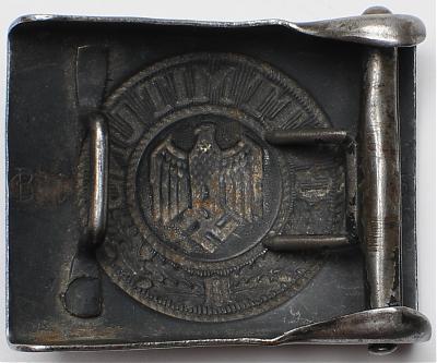 Пряжка алюминиевая, окрашенная в черный цвет, рядового состава береговой артиллерии Кригсмарине.