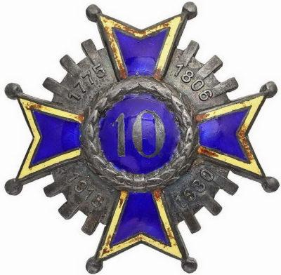 Аверс и реверс офицерского полкового знака 10-го пехотного полка.