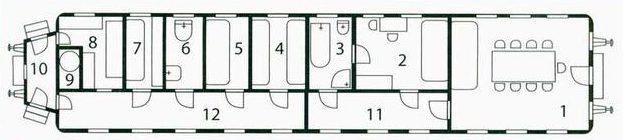 Планировка салон-вагона: 1 – салон для заседаний, 2- купе вождя, 3 персональный санузел, 4 – 4-местное купе, 5 – двухместное купе, 6 – общий туалет, 7 – служебное купе, 8 – кухня, 9 – котельная, 10 – тамбур, 11 – коридор вождя, 12 – общий коридор.