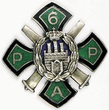 Аверс и реверс офицерского полкового знака 6-го полка легкой артиллерии.
