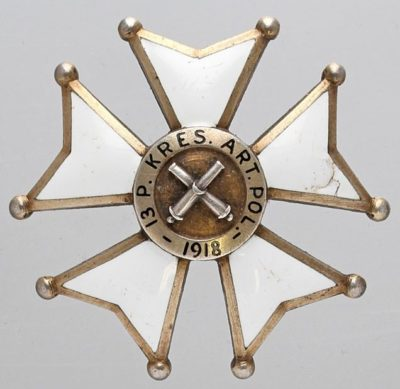 Аверс и реверс полкового знака 13-го пограничного полка полевой артиллерии.
