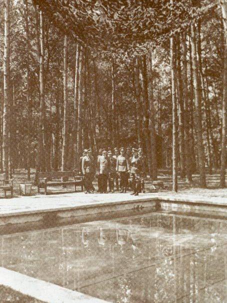 Гитлер с группой офицеров у бассейна.