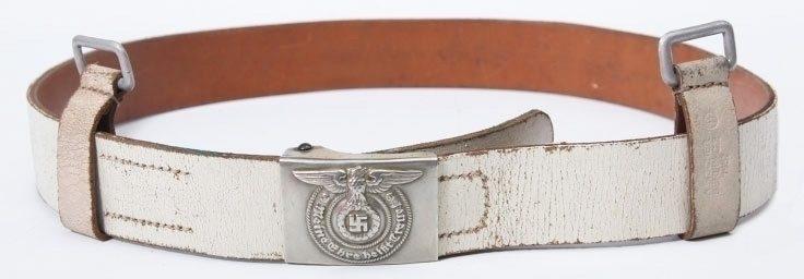 Парадный белый ремень со стандартной пряжкой солдата СС «Лейбштандарт».