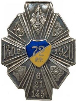 Аверс и реверс полкового знака 72-го пехотного полка.