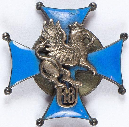 Аверс и реверс офицерского полкового знака 18-го Поморского уланского полка.