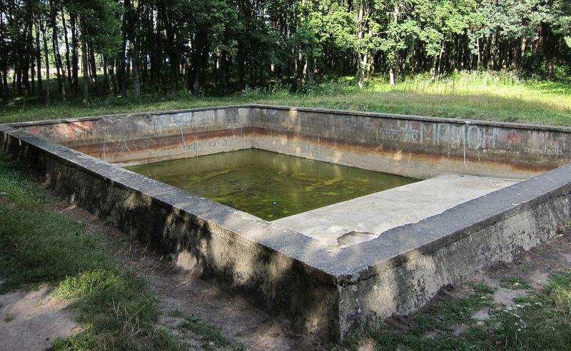 Местная «знаменитость» - остатки плавательного бассейна с отпечатком немецкого сапога на бетоне.
