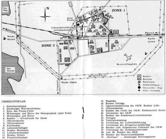 Схема размещения основных объектов в «Волчьем логово». Бункер Гитлера имел №13.