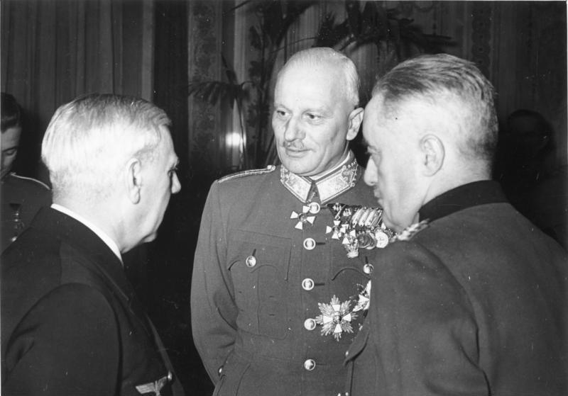 Фридрих Канарис и Вильгельм Кейтель с румынским военным министром. 1941 г.