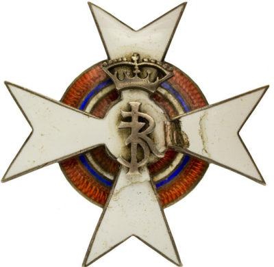 Аверс и реверс офицерского полкового знака 20-го уланского полка им. короля Яна III Собеского.