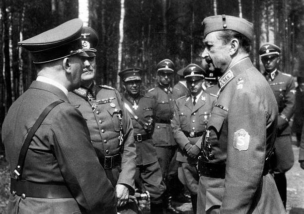 Вильгельм Кейтель, Карл Маннергейм и Адольф Гитлер. 1943 г.