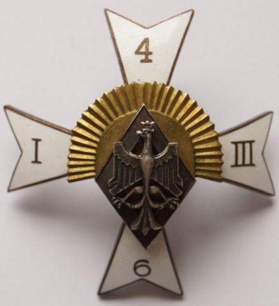 Аверс и реверс офицерского полкового знака 6-го полка конных стрелков им. гетмана Станислава Жолкевского.