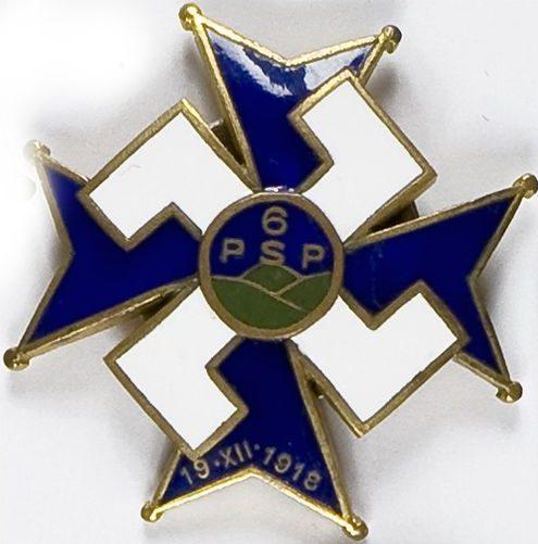 Аверс и реверс офицерский полковой знак 6-го полка Подгаланских стрелков.