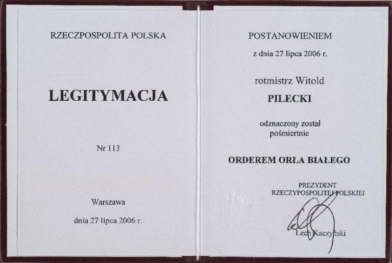 Удостоверения о награждении орденом Белого Орла.