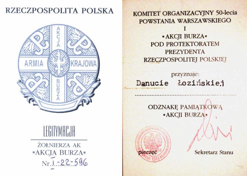 Удостоверение о награждении памятным знаком армии Крайовой «Акция Буря».