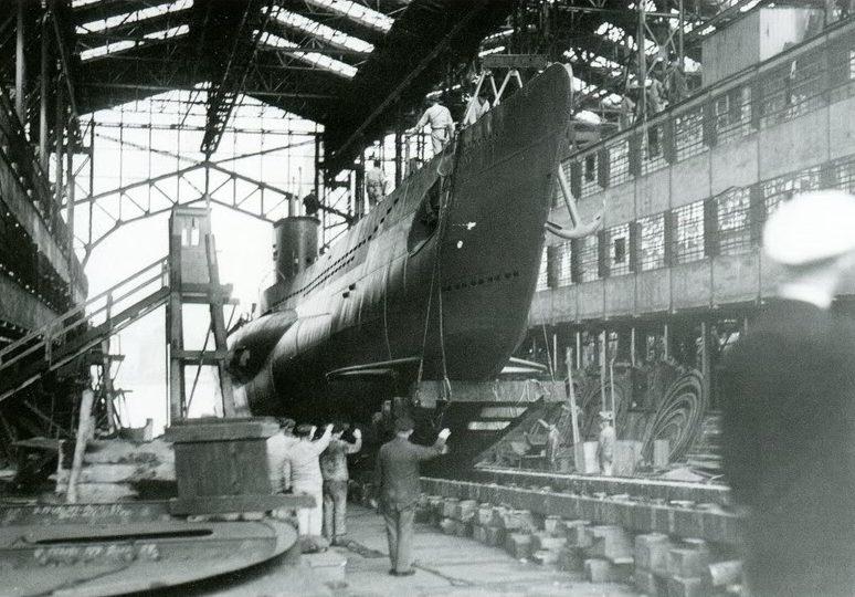 Подлодку «U-53» спускают на воду. Май 1939 г.
