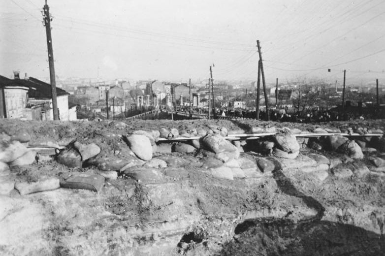Оборонительный рубеж на Холодной горе. Октябрь 1941 г.