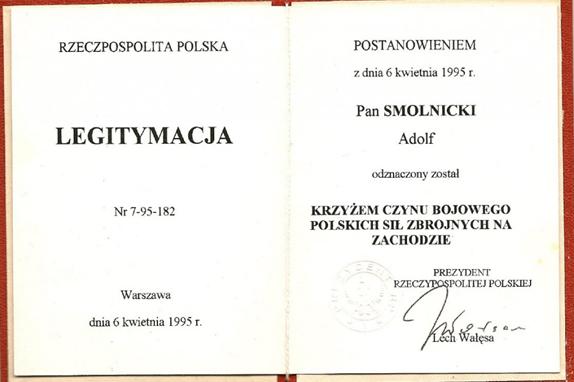 Удостоверение о награждении Крестом боевого действия польских вооруженных сил на Западе.