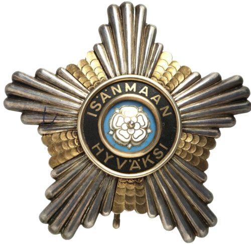 Аверс и реверс Звезды ордена Белой розы Финляндии к Большому кресту.