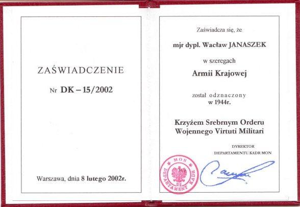 Документ о награждении серебряным крестом Virtuti Militari от имени Армии Краевой.