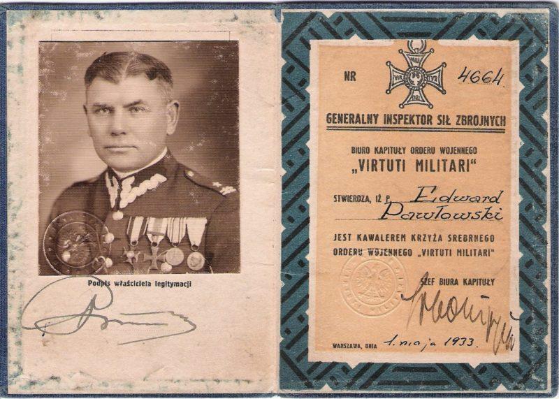 Удостоверение кавалера серебряного креста ордена Virtuti Militari.