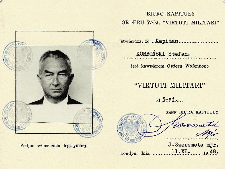 Удостоверение кавалера серебряного креста (5-го класса) ордена Virtuti Militari.