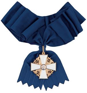 Большой крест ордена Белой розы Финляндии с узкой лентой для женщин.