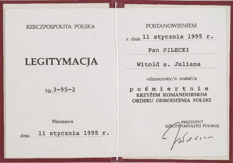 Удостоверение о награждении Командорским Крестом ордена Возрождения Польши.