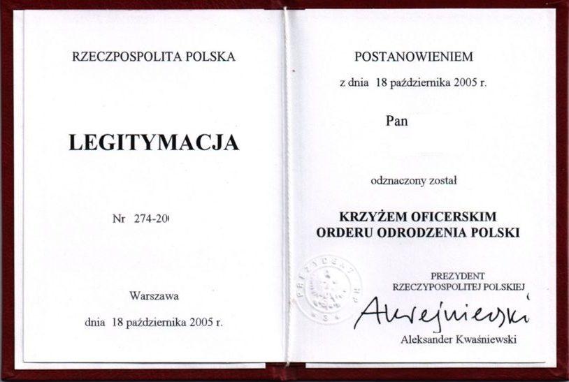 Удостоверение о награждении Офицерским Крестом ордена Возрождения Польши.