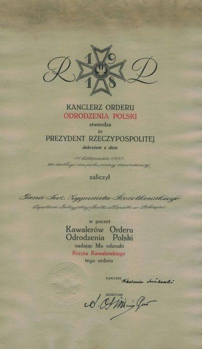 Акт награждения Рыцарским Крестом ордена Возрождения Польши.