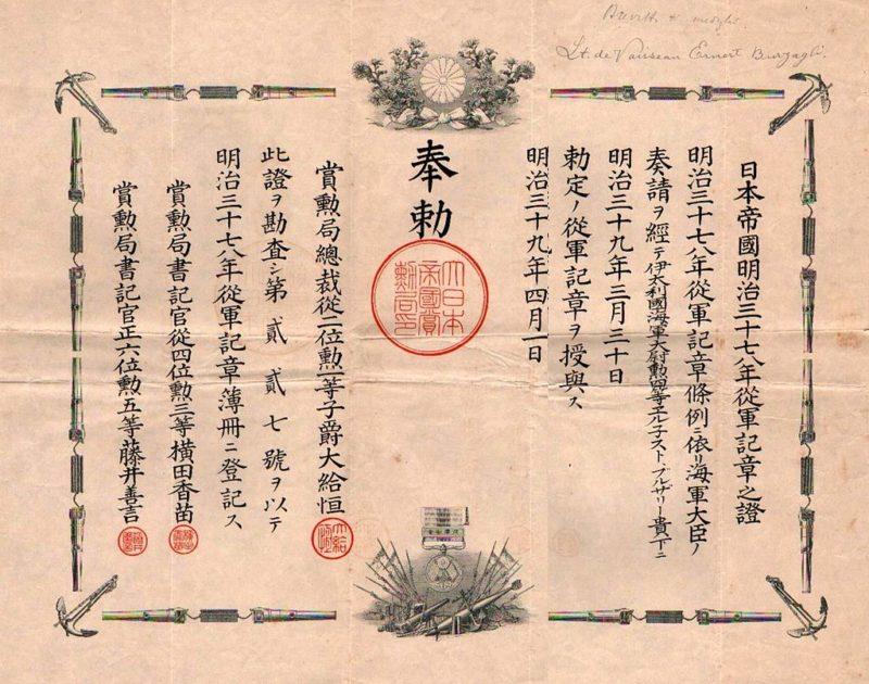 Удостоверение о награждении медалью «За участие в «Маньчжурском инциденте».