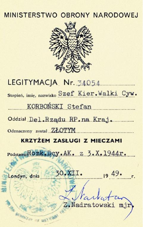 Удостоверение о награждении Золотым Крестом «Заслуги с мечами».