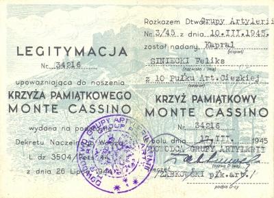 Удостоверение о награждении Крестом «За Монте-Кассино».