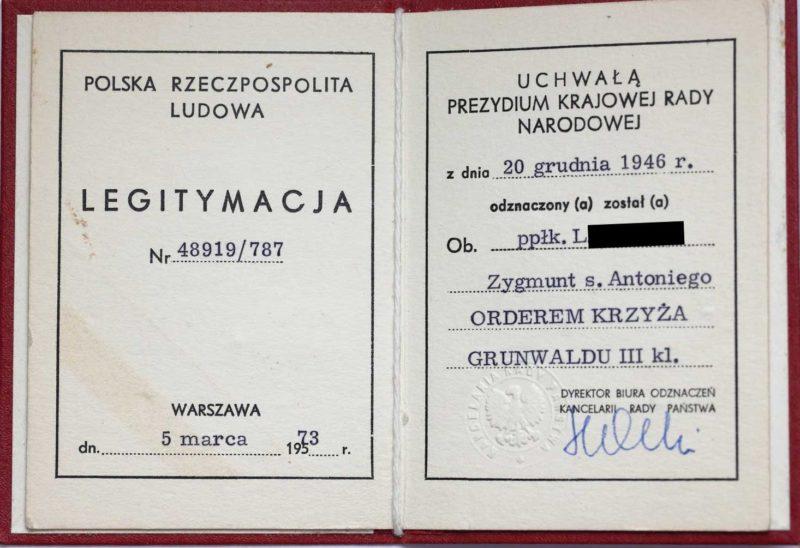 Удостоверение о награждении орденом «Крест Грюнвальда».
