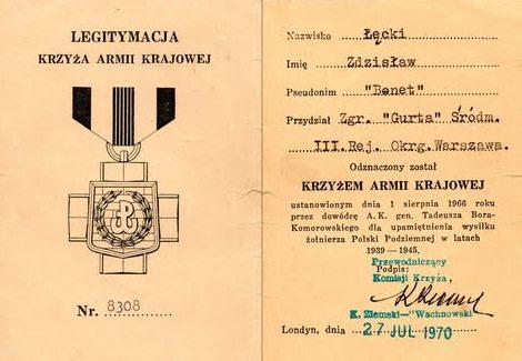 Удостоверение о награждении Крестом Армии Крайовой.