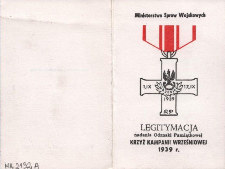 Удостоверение о награждении Крестом Сентябрьской кампании.