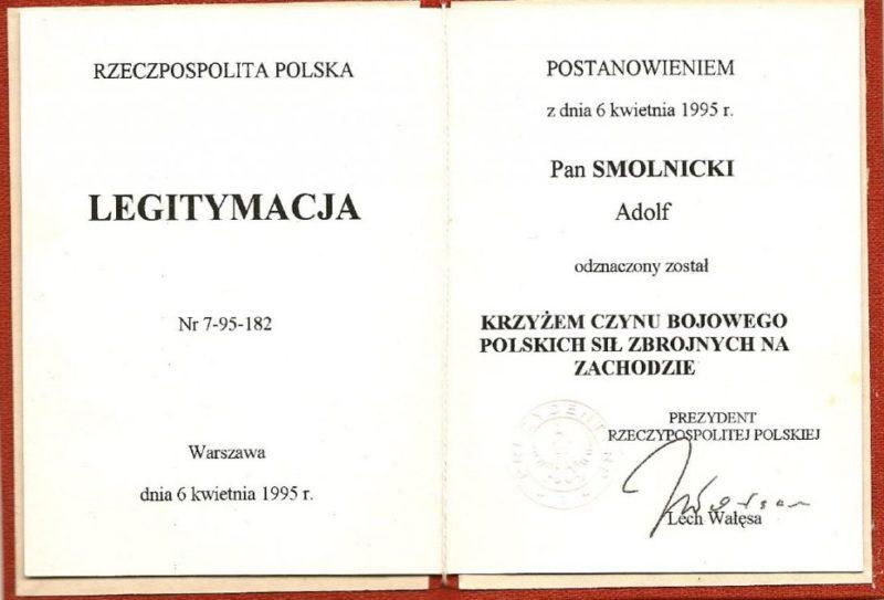 Удостоверение о награждении Крестом Народного Вооруженного Выступления.