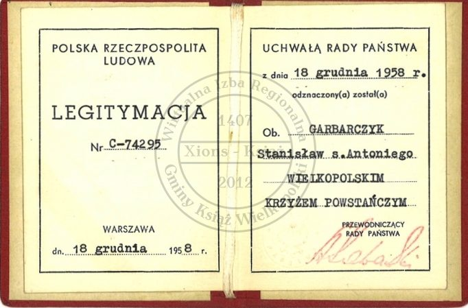 Удостоверение о награждении Крестом Великопольского восстания.