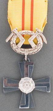 Крест 4-го класса ордена Креста Свободы за военные заслуги в мирное время.