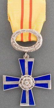Крест 4-го класса ордена Креста Свободы за гражданские заслуги.
