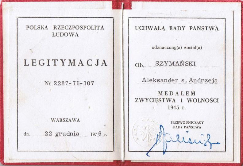 Удостоверение о награждении медалью «Победы и Свободы 1945».