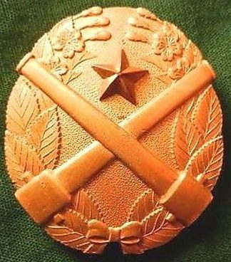 Аверс и реверс «Знака за стрельбу из скорострельного орудия» 1-й степени из тяжелого металла с накладной звездой.