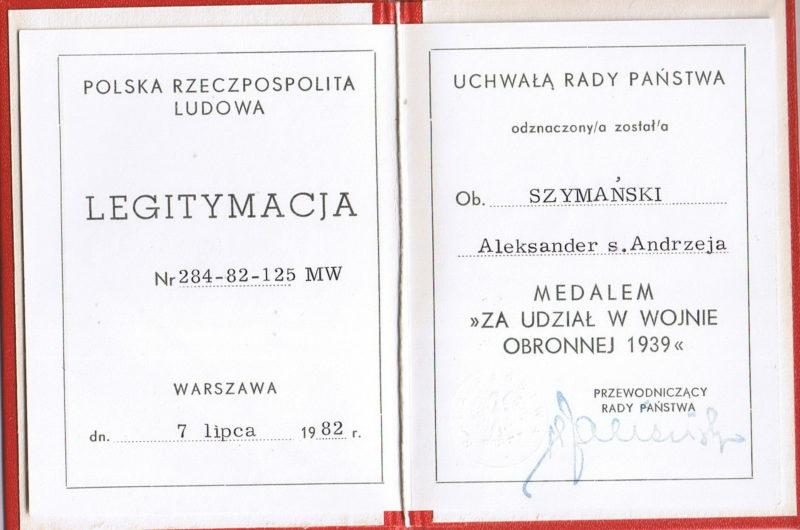 Удостоверение о награждении медалью «За участие в оборонительной войне 1939 года».