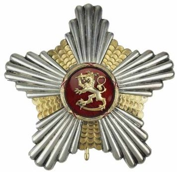 Звезда ордена Льва Финляндии к Большому Кресту с позолотой.