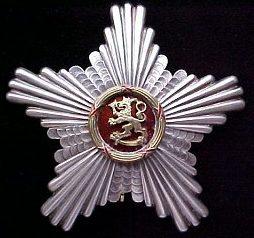 Серебряная Звезда ордена Льва Финляндии к Командорскому кресту 1-го класса.