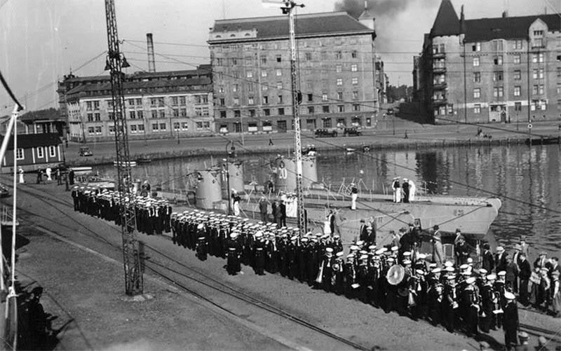 Малые подлодки «U-20», «U-22» и «U-8» в Хельсинки. 1940 г.