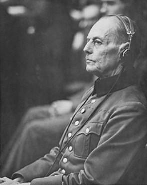Герд фон Рунштедт на Нюрнбергском процессе. 1945 г.