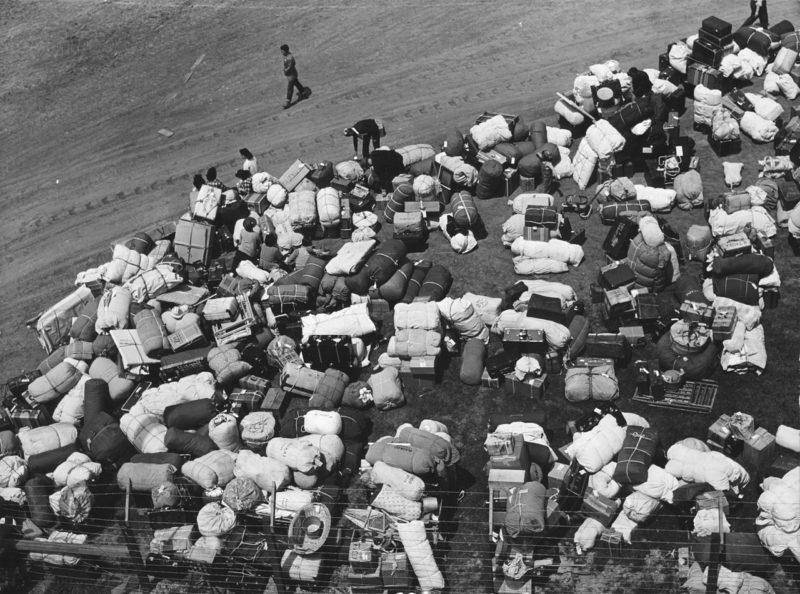 Багаж японцев в сборном пункте, расположенном на ипподроме. Май 1942 г.