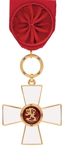Рыцарский Крест 1-го класса ордена Льва Финляндии.